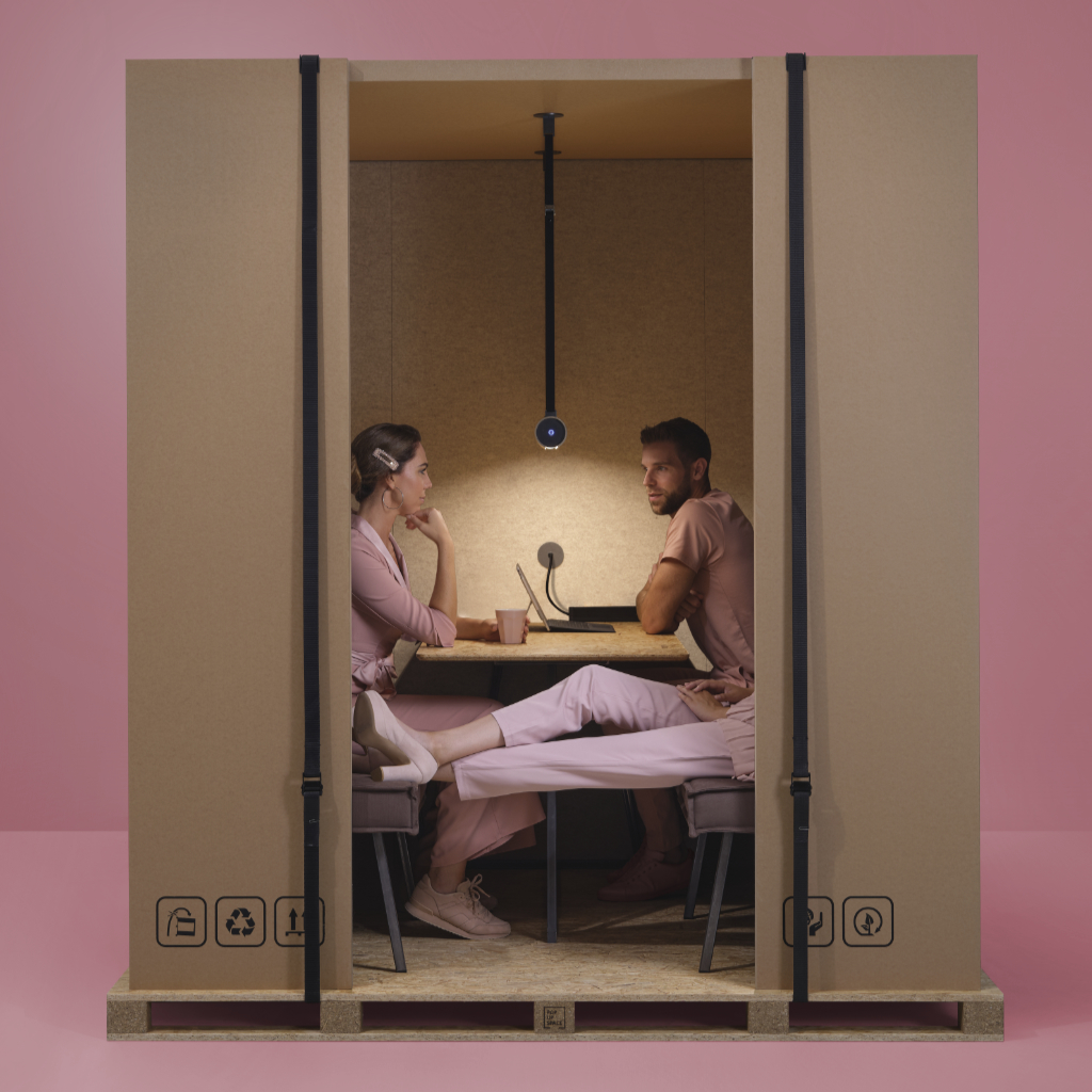 Front view of an Office-in-a-Box №1 with three people meeting inside